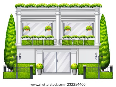 A commercial building with green plants on a white background  - stock vector