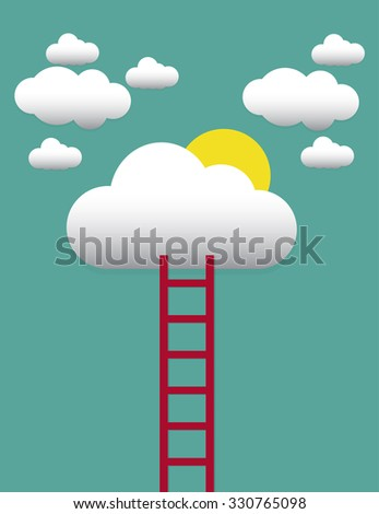 a competition concept, clouds and sun with ladders