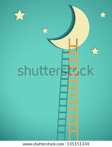 a competition concept, moon with ladders on turquoise sky - stock vector