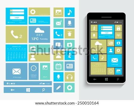 A complete presentation of web layout with different features, mobile icons and smartphone presentation on grey background. - stock vector