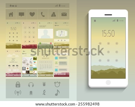 A complete presentation of web layouts for user interface with smart phone presentation.  - stock vector