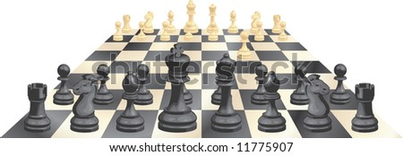 A complete set of chess pieces and board just after the start of a game - stock vector
