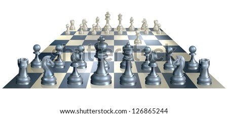 A complete set of chess pieces and board just after the start of a game with white having made the opening move