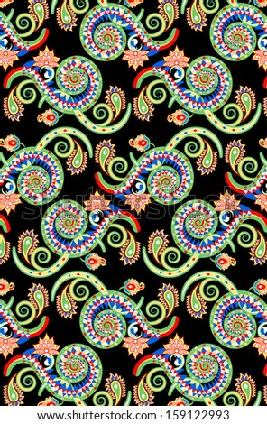 a complex background/wallpaper design using colorful spirals with paisley elements
