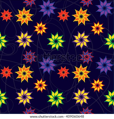 A complex vector seamless pattern. Vector Floral Pattern. Repeating vector background pattern. To decorate paper, fabric and wallpaper. - stock vector