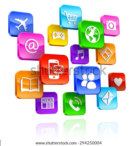 A Composition of internet multicolored 3D App Icons.  - stock vector