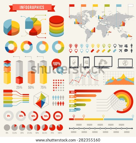 A comprehensive Template set for infographics - stock vector