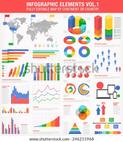 A comprehensive Template set for infographics.  - Bar charts - Graphs - Pie Charts - Detailed World Map - Pointer Icons - Story Line Templates Vector file is EPS v.10 and is organized with layers - stock vector