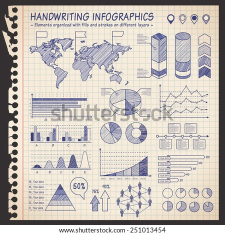 A comprehensive Template set for infographics with a sketchy Notebook Effect.  - Bar charts - Graphs - Pie Charts - Detailed World Map - Pointer Icons Vector file is organized with layers. - stock vector