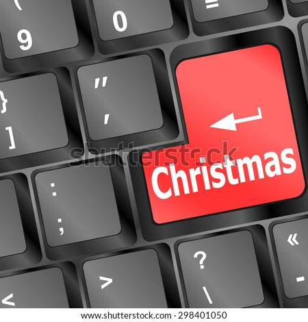 A computer keyboard with keys spelling Xmas, Shopping for Christmas vector