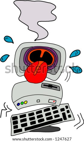 A computer with a virus - stock vector