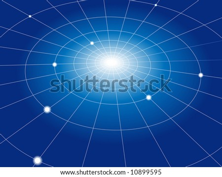 A concentric abstract network of grid lines connects nodes. Abstract background. - stock vector