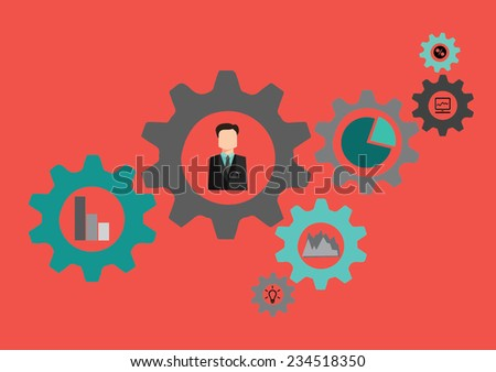 A concept of perfectly working business process. - stock vector