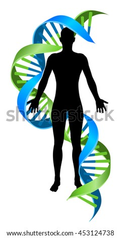 A conceptual graphic of a human person figure silhouette with a double Helix DNA genetics chromosome strand - stock vector