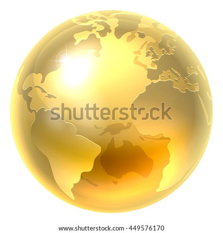 A conceptual illustration of a gold world earth globe icon - stock vector