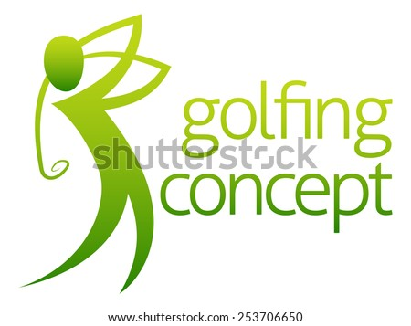 A conceptual illustration of a golfer golfing swinging his club - stock vector
