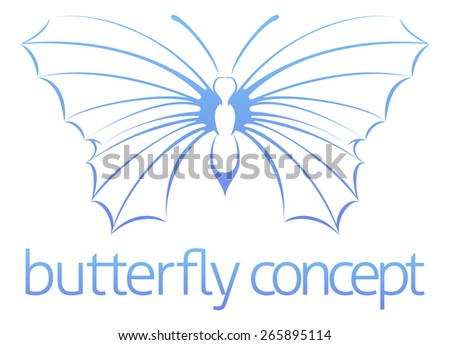 A conceptual illustration of a stylised abstract butterfly  - stock vector