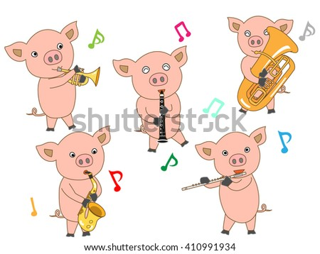 A concert of the wind music of the piglet. - stock vector