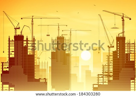 A Construction Site with Lots of Tower Cranes and Sunset, Sunrise - stock vector