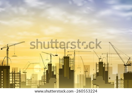 A Construction Site with Lots of Tower Cranes with Sunset, Sunrise. Vector EPS 10 - stock vector
