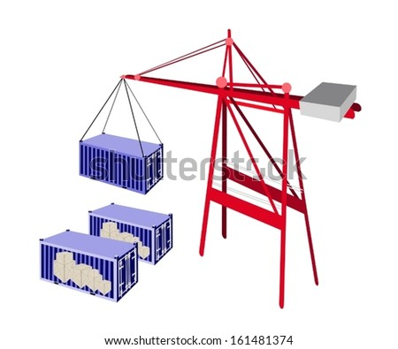 A Container Crane Lifting A Blue Freight Container from Stack To A Ship, Container Crane Is A Heavy Machine for Loading and Unloading Container from Container Ship.  - stock vector