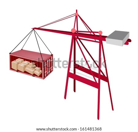 A Container Crane Lifting A Red Freight Container To A Ship, Container Crane Is A Heavy Machine for Loading and Unloading Container from Container Ship.  - stock vector