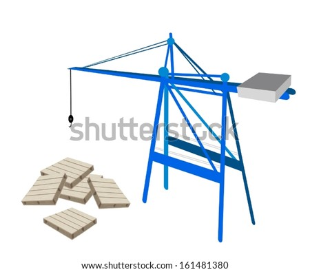 A Container Crane with Shipping Pallets Preparing for Storage and Transportation.  - stock vector
