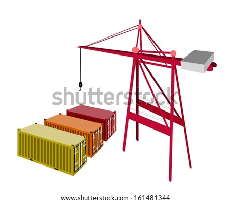 A Container Crane with Three Freight Container, Container Crane Is A Heavy Machine for Loading and Unloading Container from Container Ship.  - stock vector