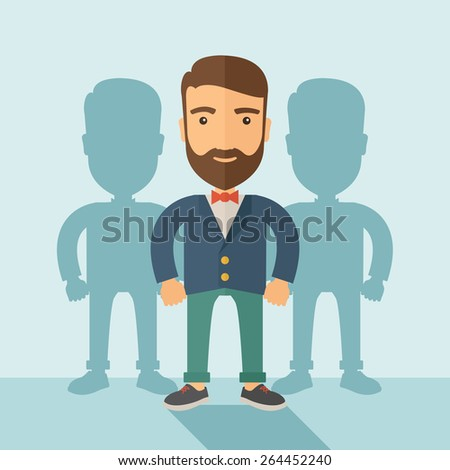 A contented young Caucasian hipster man with beard  wearing a red bow tie and a blue coat. Happily standing  showing that he is successful in life about teambuilding sprite.. Happy, winner concept. A - stock vector