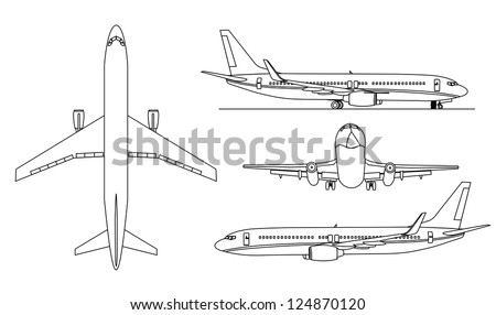 A contor illustrations of big airplanes  . - stock vector