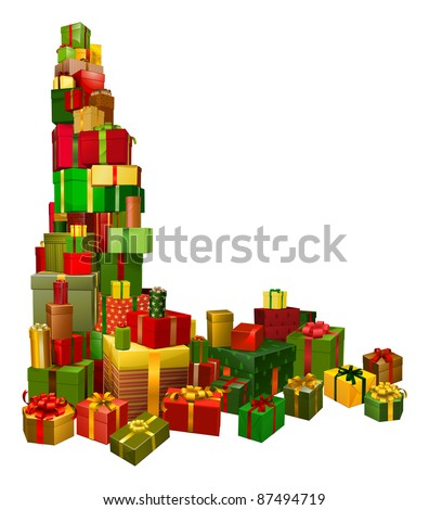 A corner shaped design element of lots of Christmas gifts - stock vector
