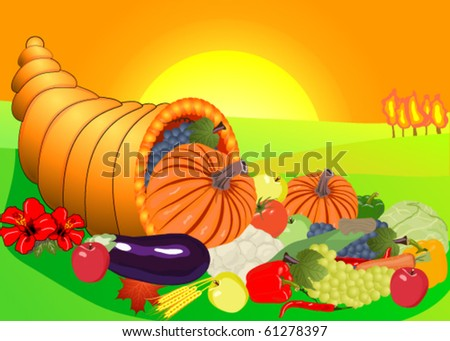 A cornucopia, filled with fruits and vegetables. - stock vector