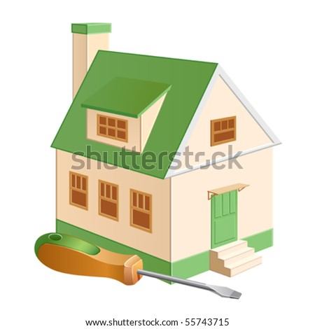 A cottage model with a screwdriver