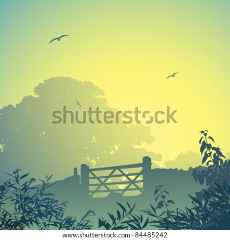 A Country Landscape with Gate and Wall - stock vector