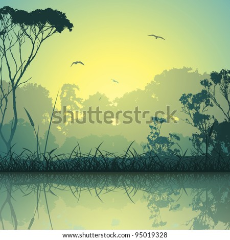 A Country Meadow Landscape with Trees and Reflection in Water - stock vector