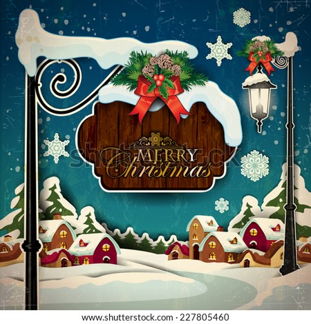 A country with snowy sign of Christmas greetings-Vintage effects can be removed- Transparency blending effects and gradient mesh-EPS 10