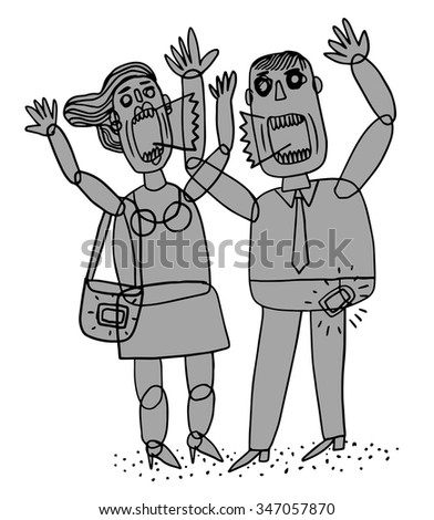 A couple arguing and shouting - stock vector