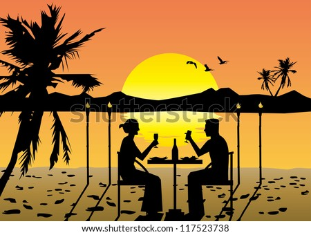 a couple dining on the beach at sunset - stock vector