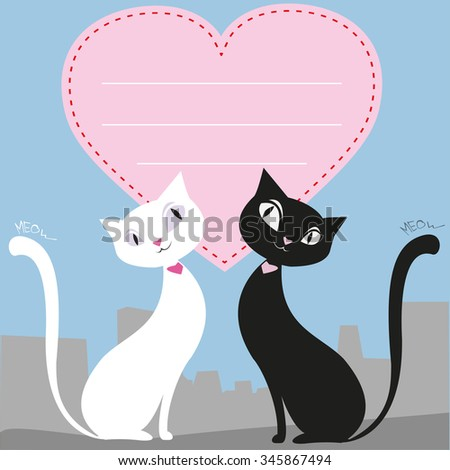 A couple of black and white cats, heart, greeting card or banner, vector illustration