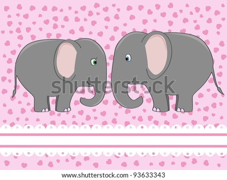 a couple of cute elephants in love vector illustration - stock vector