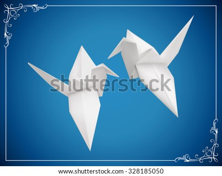 A couple of origami birds vector illustration. Saved in EPS 10 file with NO effects and transparencies. Gradient mesh is used, well  layered and grouped. - stock vector
