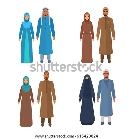 Couple people middle east national religious stock vector a couple of people from the middle east in the national religious clothing islamic sciox Images