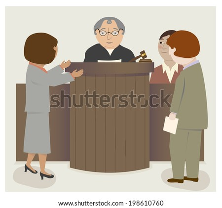 A courtroom scene with judge, lawyers, witness/Judge Lawyers Courtroom - stock vector