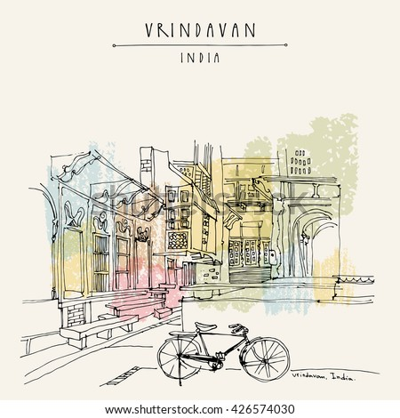 A courtyard in the holy city of Vrindavan, India. Sacred Krishna place. Vintage hand drawn postcard template. Vector illustration