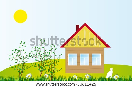 A cozy cottage in the field. Vector illustration