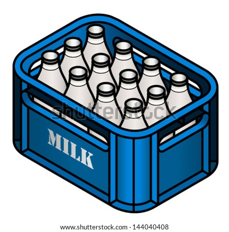 A crate of glass milk bottles. - stock vector