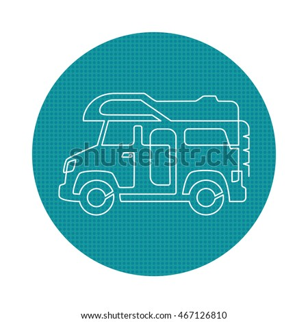 A Creative Camper Van Drawing With One Continuous Line Perfect Logo Or Icon For RV