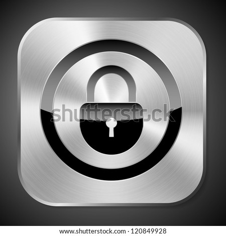 a creative metal lock icon - stock vector