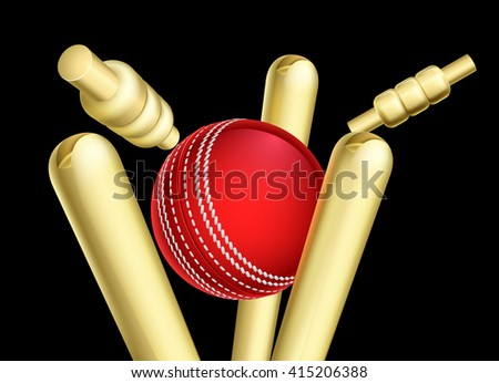 A cricket ball breaking wicket stumps sports illustration - stock vector