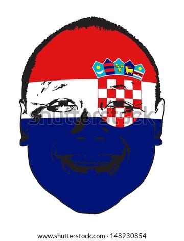 A Croatia flag on a face, isolated against white.  - stock vector